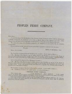 Peoples Ferry Company Circular. Peoples Ferry Company.Boston, MA.1853