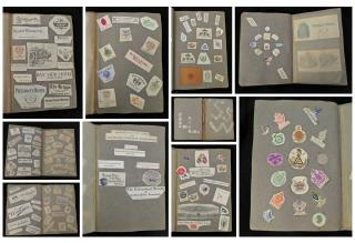 Travel Scrap or Memento Book  -  Monograms, Hotel Logos, Fraternity Insignias etc.. ..1930-1940s