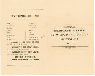 Stephen Paine Thermometer, Urinometers, Hydrometers... Flyer by Stephen Paine. Paine & Webster.Providence, RI.[1860]