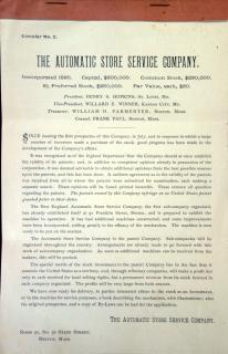 Prospectus for The Automatic Store Service Company Circular No. 2 . The Automatic Store Service Company.Boston, MA.1890