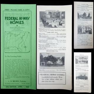 Federal Hi-Way Homes: A List of Select Private Homes Open to Travelers . L.H. Brown .Tampa, Florida.12875
