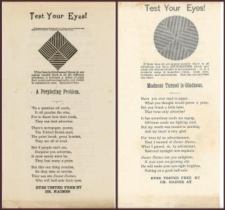 A.D. Haines Two (2) Leaflet Promotional Eye Charts Presented by Rochester NY Optician. .Rochester, NY.[1930]