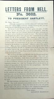 Satanus Diabolus Handbill Placed In Hymnbooks - Letters from Hell to President Bartlett, No. 3682. ..1887