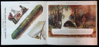 Boston Post Sunday Supplement - Camping Out in the Main Woods - A Panorama. American Lithographic Co..New York.1996