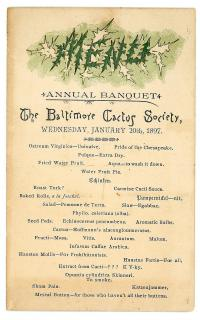 The Baltimore Cactus Society with Cacti Bill of Fare. ..Jan. 20th, 1897