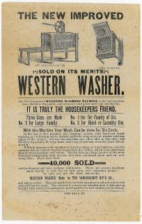 The New Improved Western Washer - It is Truly a Housekeepers Friend. The Vandergrift M'f'g Co. .Jamestown NY.1885