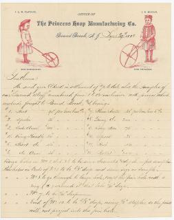 "Illustrated Letterhead with specifications for ""turned stuff"" for hoops with handles. The Princess Hoop Manufacturing Co..Bound Brook, NJ.1882"