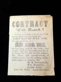 Contract to Let - Brick School House - Township No. 10. .Liberty MO.1870
