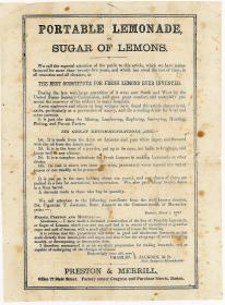 Portable Lemonade, or Sugar of Lemons. Preston & Merrill.Boston.c1871