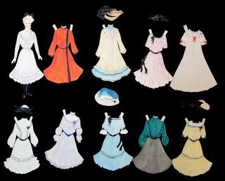 "A 6 3/4"" Handmade Watercolor Paper Doll w 9 Costumes & 5 Hats. ..c1910s"