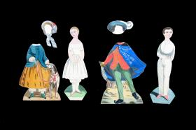 2 finely executed paper dolls with 2 costumes and 2 hats done after 1850s Brave Boy and Little Girl . All Two-sided.. ..c1940s