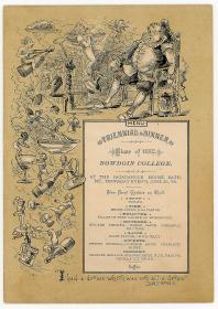 Menu Triennial Dinner - Class of 1882 - Bowdoin College. .Sagadah House, Bath ME.June 25, 1885