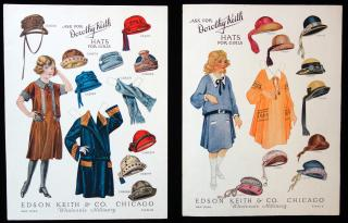 Edson Keith & Co., Wholesale Millinery 2 Uncut Advertising Paper Doll - Dorothy Keith Hats for Girls. .Chicago.c1920