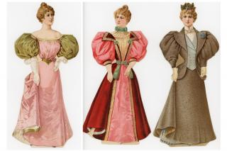 3 S.H. & M. Bias Velveteen Skirt Bindings Head and Shoulders Advertising Paper Dolls. Sackette & Wilhelms Litho Co..NY.c1895