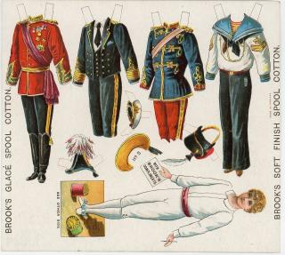 Uncut Advertising Paper Dolls Sheet - Young Boy with 4 Military Costumes. Brook's Glace Spool Thread.England.c1890s