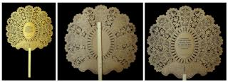 Truly Victorian - Lace Paper Hand Fan Promotes Clothing Store. L. Bernheimer & Co..NY.c1890
