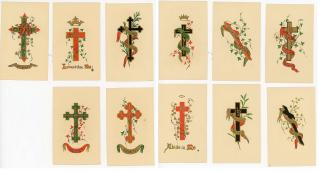 A group of 11 fine chromolithograph Motto Cards each with a cross as the central theme. ..c1880