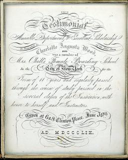 Fine Cased Calligraphy Certificate of Merit for completing a term of 11 years at Mrs. Okill's Female Boarding School. .New York, NY.1859
