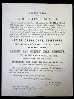 C.W. Griffiths & Co.  C.W. Griffiths & Co Notice of Business Expansion and Advertising broadside. .Boston, Massachusetts .1859
