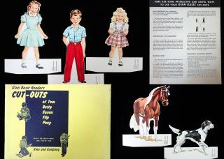 Ginn Basic Readers Cut Outs/Paper Dolls - Teaching Aid . Ginn Basic Readers.Boston.1950s