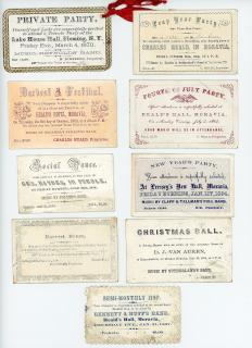 17 Invites to Social Events in Cayuga County NY. Andrus, McChain & Son, Democrat print, Oliphant etc..Cayuga County locations.1845-1870