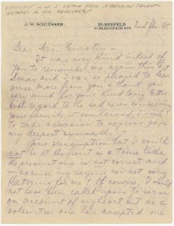 J. W. Schlosser A Unique Letter of a WWI German Soldier to an American Woman . .Elberfeld, Germany.5512