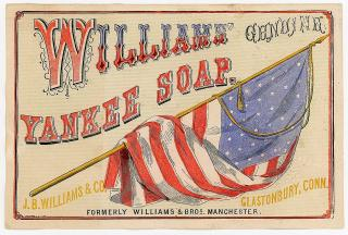Patriotic Paper Label - Williams' Genuine Yankee Soap. J. B. Williams & Co.Glastonbury CT.c1860
