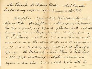 Receipt to make Elixer (sic) for the Bilious Cholic - which has also been found very useful in Agues to carry of the Bile. ..[1810]