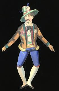 "17"" Handmade Articulated Movable Watercolor Jaunty Gent Pantin. ..[c1870s]"