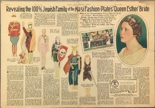 Newspaper Paper Doll of Hermann Goering  Comparing Wife, Emmy Sonnemann to the beautiful Jewess Esther, nice of Mordecai. Sunday Mirror Magazine Section.London.1935