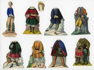 The Christmas Boy Paper Doll - Two-sided doll with 7 costumes. Unknown .Germany.c1850s