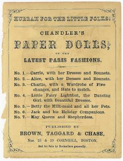 Advertisement for Chandler's Paper Dolls, or the Latest Paris Fashions. Brown Taggard & Chase..