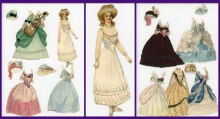 Fine Handmade Watercolor Paper Doll - Marie Antoinette w 3 costumes and hats. ..c1900