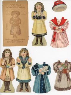 J & P Coats - 10 Dolls with Hats - 5 Dolls & Costumes + 3 Hats and Envelope. J. & P. Coats.New York, NY.c1895