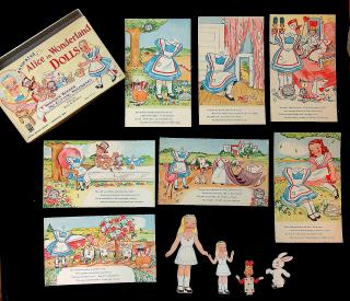 Emma C. McKean Boxed Set - Animated Alice in Wonderland Dolls - 7 Wonder Scenes - No cutting Necessary. Milton Bradley Co. No.4109..Springfield MA.