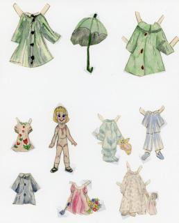 2 Sisters -  Naive Handmade Paper Dolls. ..[1950s]