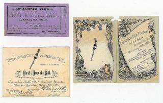 Invitation, Ticket and Dance Card for First Annual Kansas City Flambeau Club . Lisk's Print.Kansas City.February 16, 1885