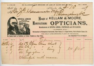 Kellam & Moore, Opticians Optician Illustrated Billhead Promoting Crystal Lenses. .Atlanta, GA.1899