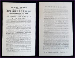 A Circular for 69,000 Acres Farming Land, Securing $20,000, 6 per Ct. 30- Year Bonds. Bank of Warsaw.Lyon County, KS.[1885]