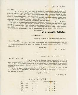 Publisher's Circular to Reseller's re Album pricing . W. J. Holland.Springfield, MA.1865