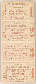 Unused Set of Norwich to New London to Newport Round Trip Tickets. New London Steamship Co..New London, CT.[1900]