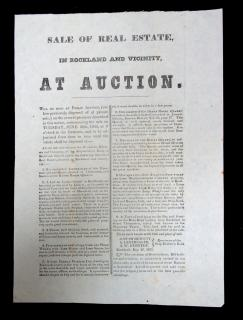 Broadside - Sale of Real Estate Notice, In Rockland. Ship Builders Bank.Rockland, ME.1855