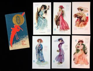 Fine Promotional Booklet What She Wears- Migel Quality Silks with Calendar Pages for 1908 - The Modern Woman in Silk. M. C. Migel & Co..New York & Paris.1908
