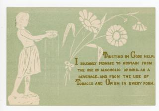 Aesthetic Movement Influenced Pledge Card, Abstain from Drinking, Smoking and Opium. ..1870s