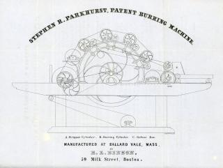 E. L. Benzon Circular - To Woolen Manufacturers  - Stephen R. Parkhurst, Patent Burring Machine. J. H. Bufford's Lith..Boston.1848