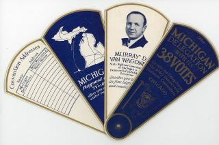 Multipurpose die-cut hand fan - advertising and program & more - The Michigan Delegation with it's 38 Votes  - 1940 Democratic National Convention. . ..July 15-18th,1940
