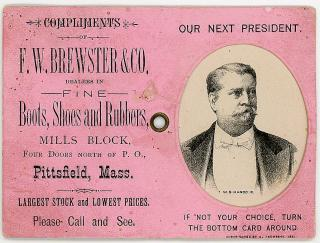 Our Next President - Select your Favorite Mechanical Trade Card - Garfield or Hancock. A. Thompson..1880