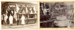 A Set of Two Photographs Depicting Christmas Displays of Butcher Stores