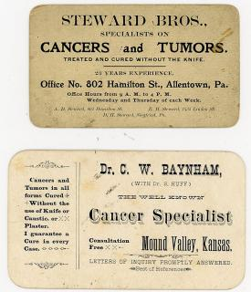 Business Cards - Cancer Specialists - Cured without Knives. .Mound Valley, KS and Allentown, PA.c1900