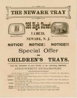 Illustrated Broadside Special Offer on Children's Trays - Sales Promotion. The Newark Tray Co..Newark, NJ.1882